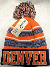 Denver Broncos Team Color Sideline Replica Pom Pom Knit Beanie Hat