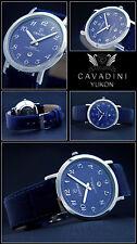 MOMENTO Clásico Acero inox. cavadini Watch de MEN Puro Lujo Azul Zafiro Coated