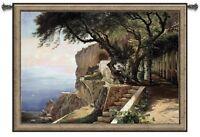EUROPEAN COASTAL VIEW ITALY ART TAPESTRY WALL HANGING SMALL 53x39