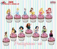 Princess Halfs 26 Stand-Up Pre-Cut Wafer Paper Cup cake Toppers