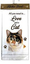 E&S Pets (701-2) Calico Cat Kitchen Towel, Off-white