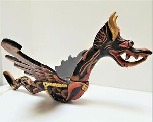 Bali Flying Dragon Mobile Winged Hanging Wood Carved Demon Chaser Balinese 42cm