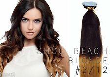 "20"" European TAPE Human Hair Extensions Ombre (20 Pcs) Choc Beach Blonde T2/12#"