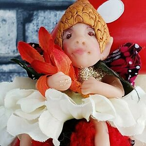 OOAK Fairy LADY BUG Fantasy Art Hand Sculpted Elf Pixie Woodland