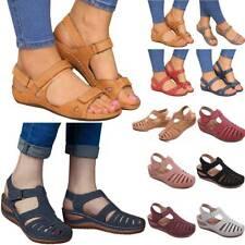 Women Summer Ankle Strap Sandals Flat Platform Wedge Summer Slingback Shoes Size