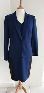 HOBBS - BLUE/BLACK TAILORED DRESS & JACKET UK 10/12 - EXCELLENT CONDITION
