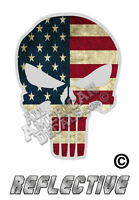 """American Flag Punisher Decal SKULL 4"""" in. Reflective Decal Sticker"""