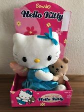 """Vintage Sanrio Hello Kitty 11"""" Plush Angel With Wings Blue Dress And Teddy Bear"""