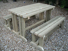 Wooden Walk In Picnic Table Bench Pub Garden Outdoor Pressure Treated