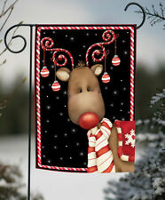NEW Toland - Candy Cane Reindeer - Festive Christmas Winter Black Garden Flag