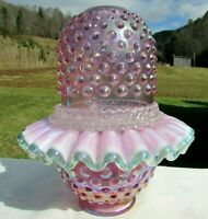 Fenton Pink Carnival Glass Hobnail Lamp 3/pc Fairy Lamp Mint**