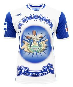 El Salvador and USA Men and Kids Fan Jersey White/Blue
