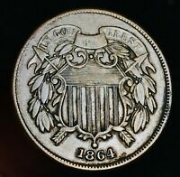 1864 US Two Cent Piece 2C High Grade FULL MOTTO Civil War US Copper Coin CC4404
