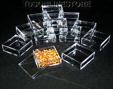 2 By 2 Inch Square Clear Acrylic Bead/Gem Storage Boxes 12 QTY
