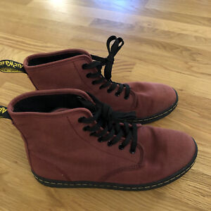 Dr. Martens Shoreditch Cherry Red Canvas Boots Shoes Womens Size 8 US