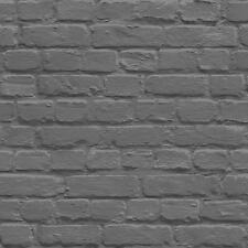 Muriva dipinto Mattone Carta da parati finto effetto METALLICA motivo trama nera