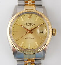 MENS 18K GOLD & S/S ROLEX OYSTER PERPETUAL DATEJUST 16013 AUTOMATIC WRIST WATCH