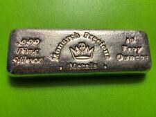 10 oz .999 Fine Silver Hand Poured Monarch Precious Metals Bar