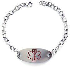 Diabetes Type 1 Diabetic Bracelet Medical Alert Id Stainless Steel Men Women New