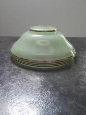 Ancien Abat-Jour vert pale suspension verre liseret granité or ART DECO Ø20 cm.