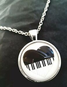 Music Piano Keys Heart Glass Dome Pendant Chain Necklace (Music Gift)