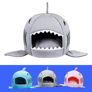 Shark Cat Dog Bed House Puppy Kennel Warm Pet Cave Nest Mat Pad Cushion Washable