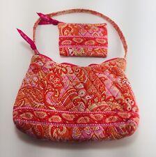 "Vera Bradley Paisley Pink Orange 10"" Shoulder Bag Purse & MatchIng Wallet Spring"