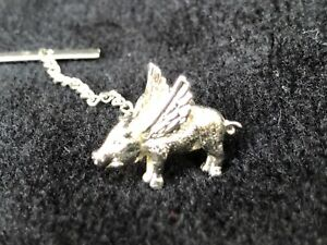 """Tie Pin """"When Pigs Fly"""" silver figure; 1 inch"""