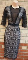 PINK BOUTIQUE BLACK LACE NUDE MESH SHEER BODYCON MIDI PARTY PENCIL DRESS 8 S