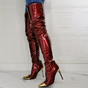 Sexy Super High Stiletto Pointed Nightclub Women Shoes Over The Knee Long Boots