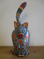 FAIR TRADE Hand Carved & Painted Wooden Standing Cat #1 Statue Ornament NEW