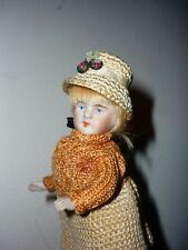 """ANTIQUE  doll 4"""" KESTNER ALL BISQUE 208- 2  Blue eyes"""