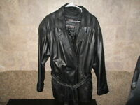 Warmth within luxury; Womens Black Wilsons  Insulated Leather Belted Jacket