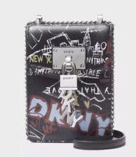 379e58028 ❤️DKNY Elissa Pebbled Charm Iconic Black Graffiti/Silver Mini Crossbody Bag,