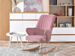 New Rocking Chair Living Room Bedroom Nursery Modern Pink Fabric
