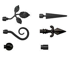 2 Metall Rohr Abschlüsse für 16 mm Gardinenstangen - Endstücke in schwarz