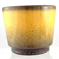 West Germany Salt Glaze Yellow and Brown Pottery Vintage Planter M751