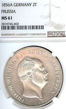 German States Prussia 1856 A 2 Taler Coin Thaler NGC MS 61 VZ/PRF  Deutschland