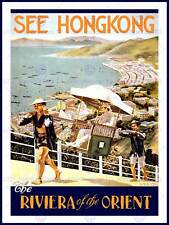 TRAVEL TOURISM HONG KONG RIVIERA ORIENT USA VINTAGE ADVERTISING POSTER 2399PY