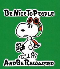 """SNOOPY / PEANUTS """"BE NICE TO PEOPLE"""" Sticker Decal FORD Car Surfboard Surfing vw"""