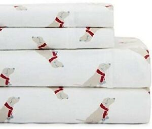 Tommy Hilfiger 3 Pc. Twin Size  Flannel Sheet Set Yellow Lab Dog w/Red Scarf