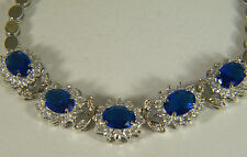 BRACELET: BLUE SAPPHIRE OVAL WHITE TOPAZ ROUND SIMULATED 18K WITH GOLD OVERLAY