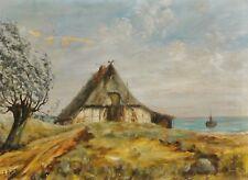 E. PÖHLS (XX) antik Gemälde ca 1930: FRIESEN-REETDACH-HAUS AN DER NORDSEE-KÜSTE