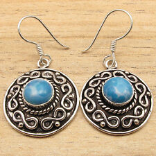 925 Silver Plated Simulated LARIMAR Blue Gemset Pair, VINTAGE STYLE ART Earrings