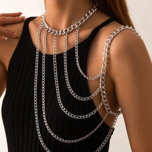 Women Layered Necklace Collar Shoulder Long Chain Pendant Body Jewelry Choker UK