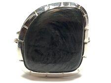 Vintage Ladies Sterling Silver Black Agate Stone Ring - Size 9
