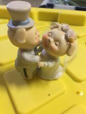 """Bride Groom Cake Topper Enesco 1981 vintage Porcelain 4 1/2"""""""