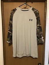 Men's Under Armour Heat Gear Athletic Shirt Size Xl Camo Fitted Elbow Sleeve