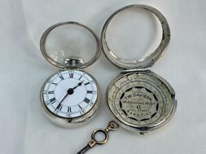 Fine English Silver Pair Cased Verge Fusee Pocket Watch London 1771.