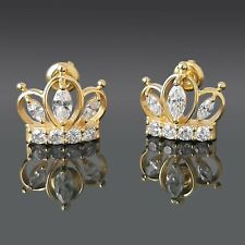 2.25 CT Created Diamond Crown Earrings 14K Yellow Gold Over Studs Round-Cut VVS1
